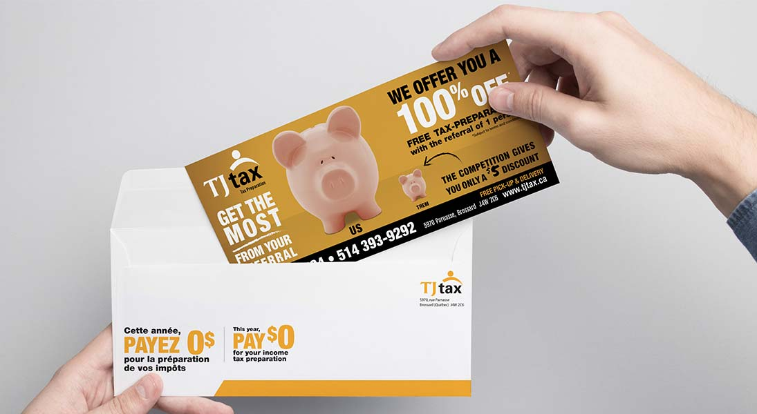 Flyer TJ tax - conception design graphisme laval campagne publicitaire energik