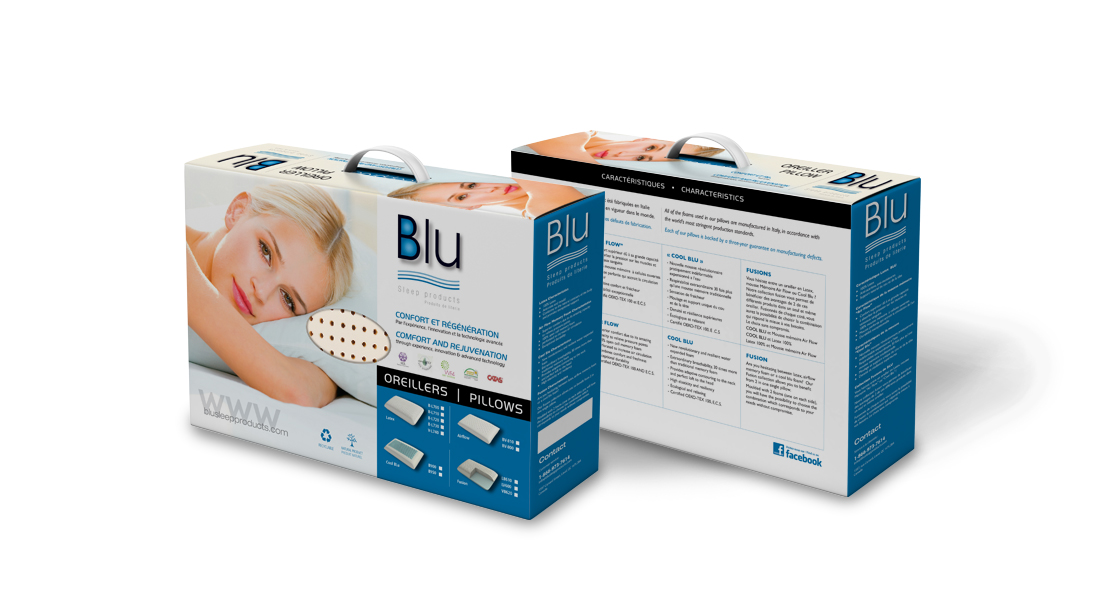 Emballage packaging blu sleep product - conception design graphisme laval emballage packaging energik