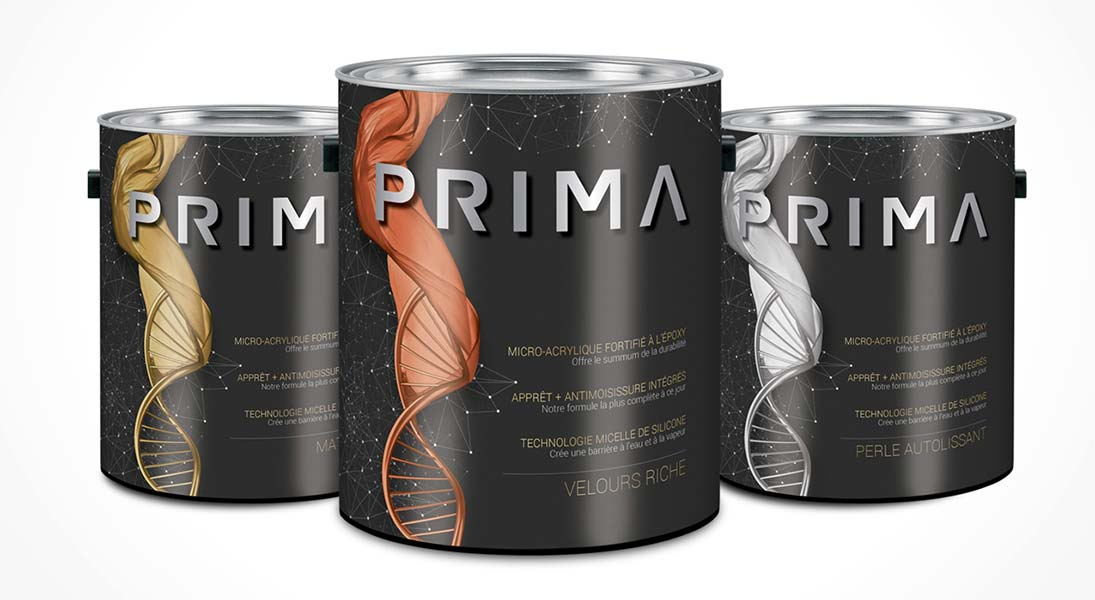 Peinture Prima Denalt - conception design graphisme laval emballage packaging energik