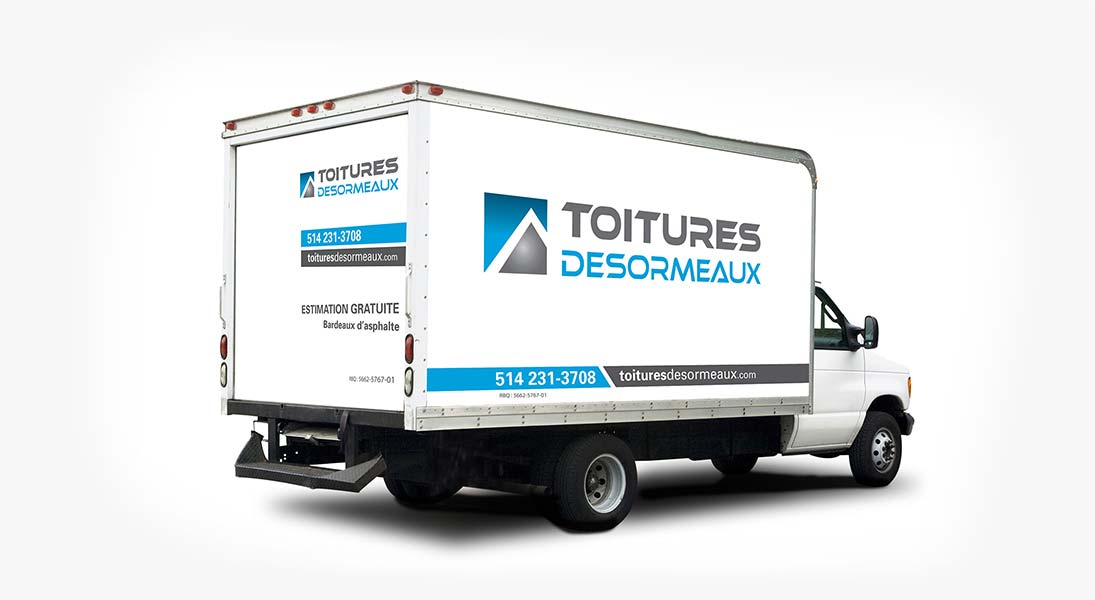 Habillage vehicule toitures desormeaux  - renovation wrap conception design graphisme laval energik