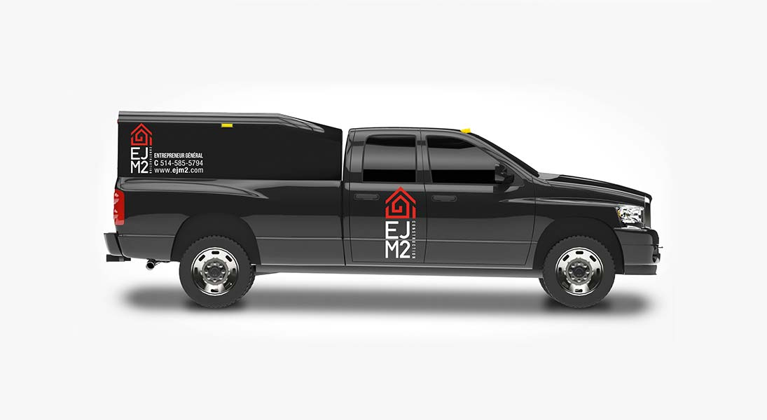 Habillage vehicule ejm2 construction - renovation wrap conception design graphisme laval energik
