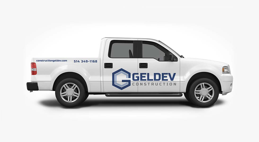 Habillage vehicule geldev construction - renovation wrap conception design graphisme laval energik