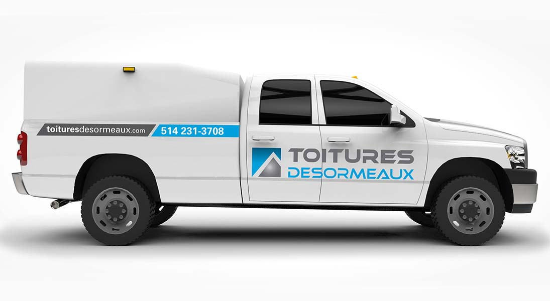 Habillage vehicule toitures desormeaux = - renovation wrap conception design graphisme laval energik