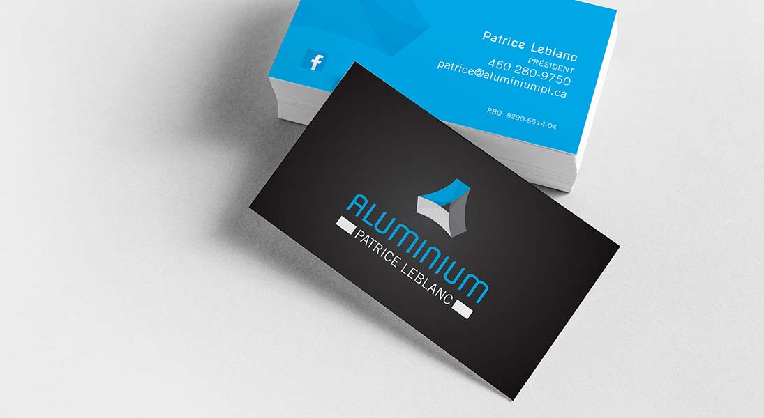 logo business card aluminium patrice leblanc - aluminium construction logo stationery conception design graphism laval energik