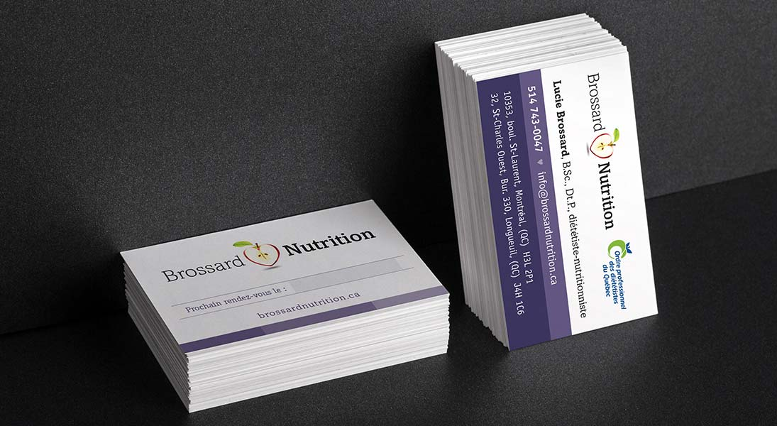 logo and business cards Brossard Nutrition - logo stationery conception design graphism laval energik