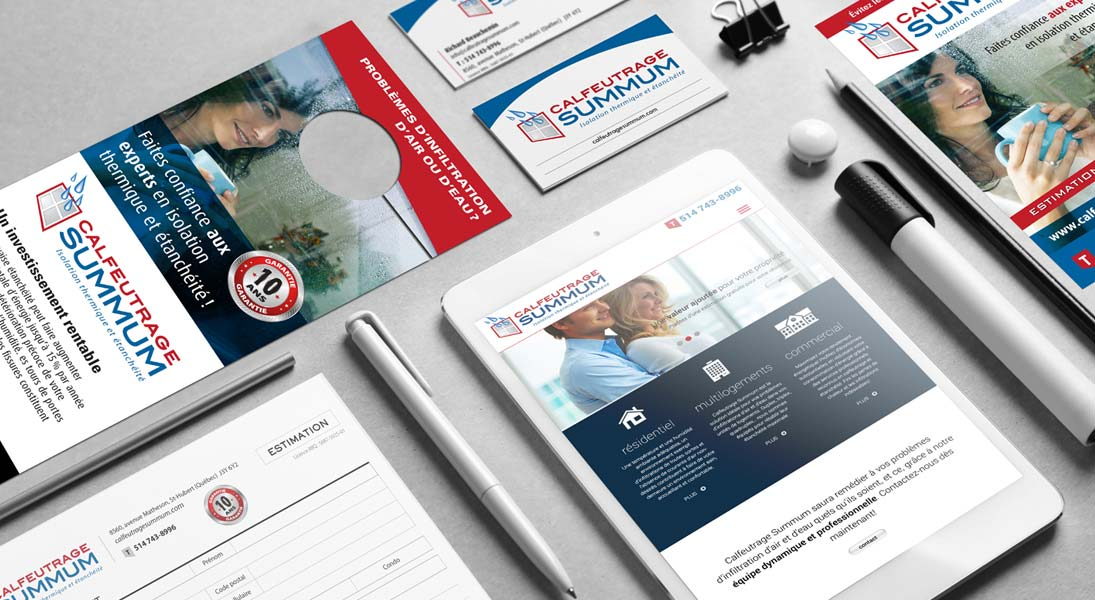 logo papeterie calfeutrage summum - logo stationery conception design graphism laval energik