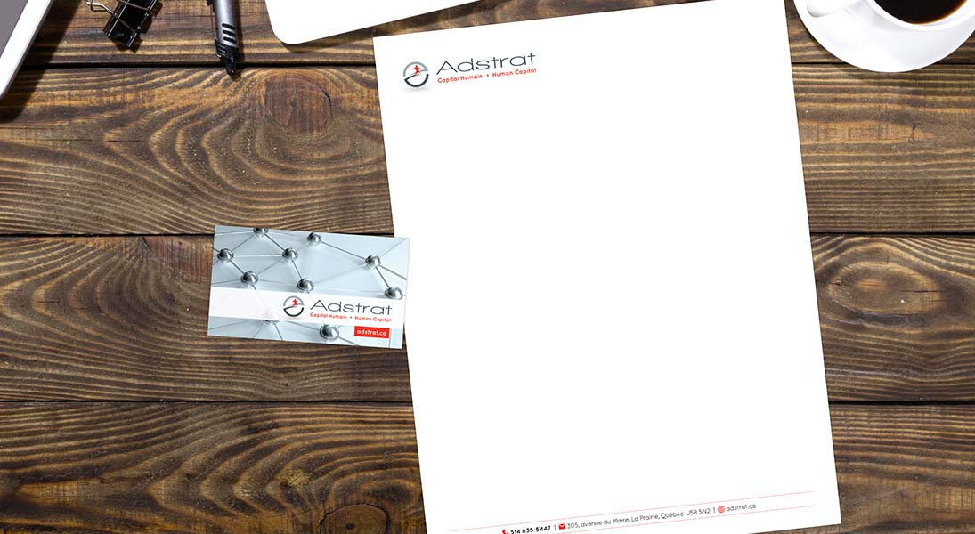 logo papeterie adstrat capital humain - logo stationery conception design graphism laval energik