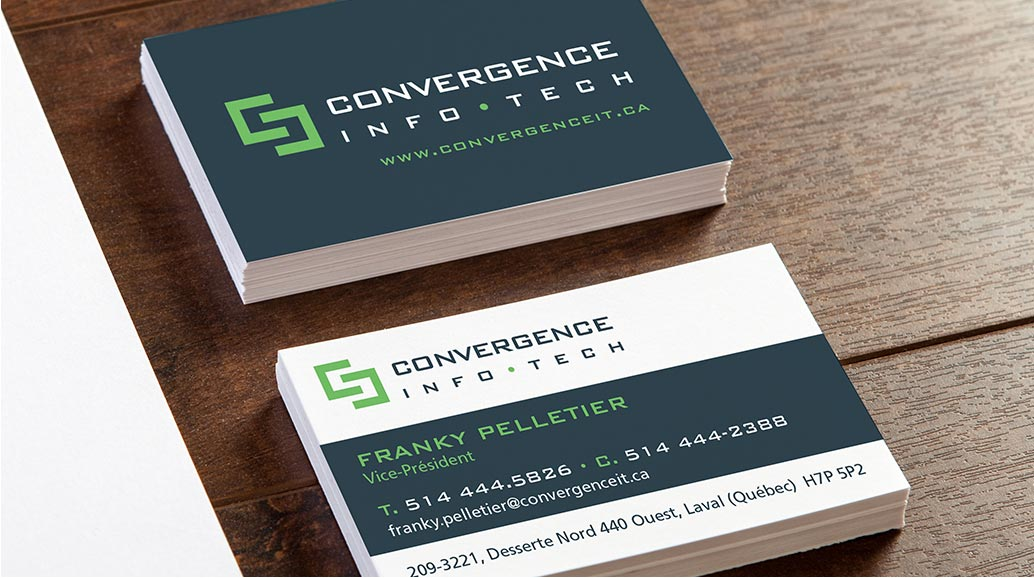 logo business card convergence info tech - techno logo stationery conception design graphism laval energik