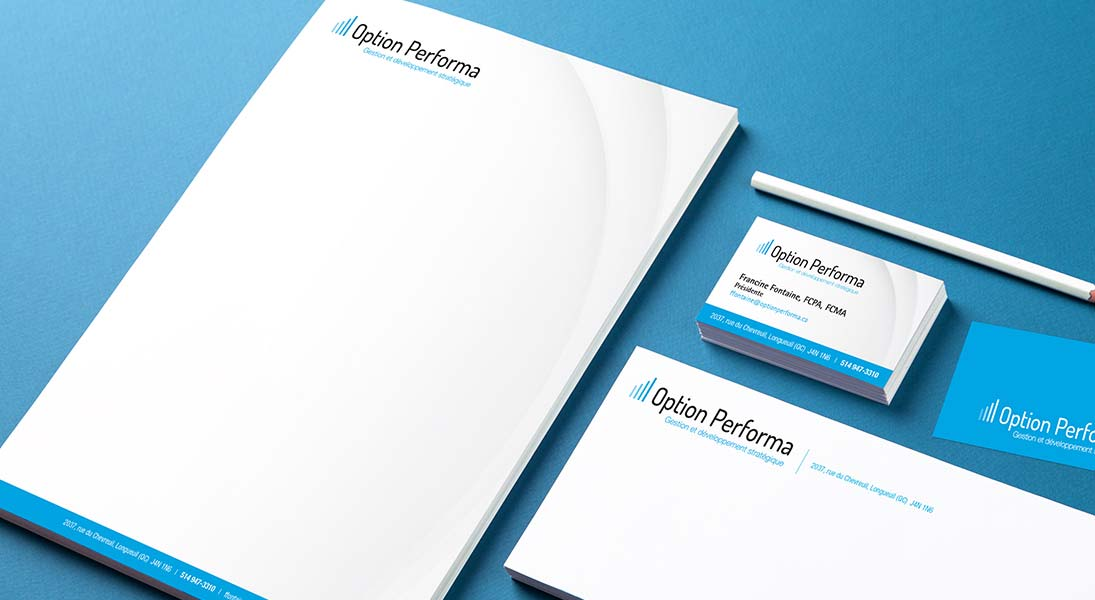 logo Option performa - management and strategic development logo stationery conception design graphism laval energik
