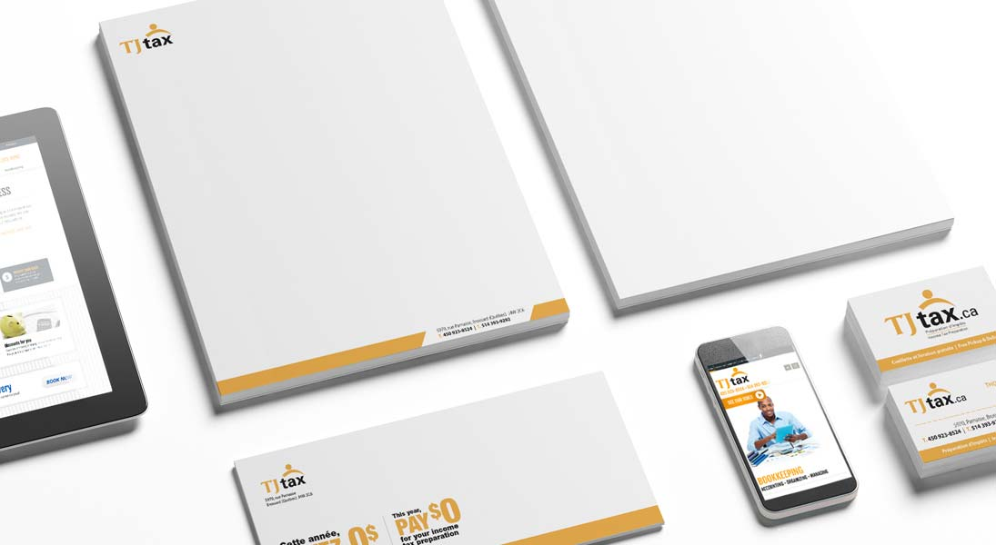 logo stationery papeterie tj tax impot comptable -  logo stationery conception design graphism laval energik