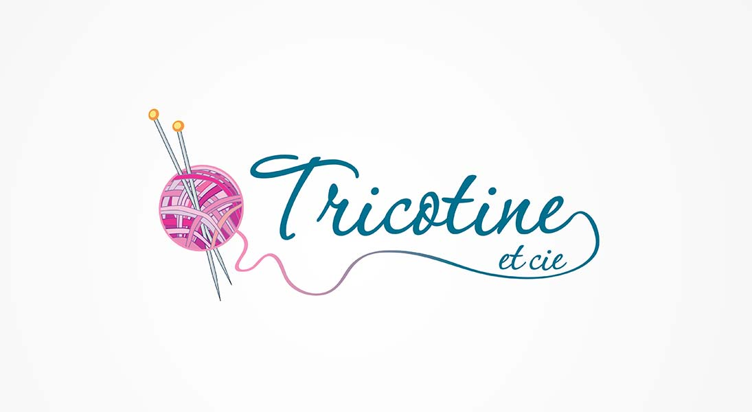 logo Tricotine - knitting course and material logo stationery conception design graphism laval energik