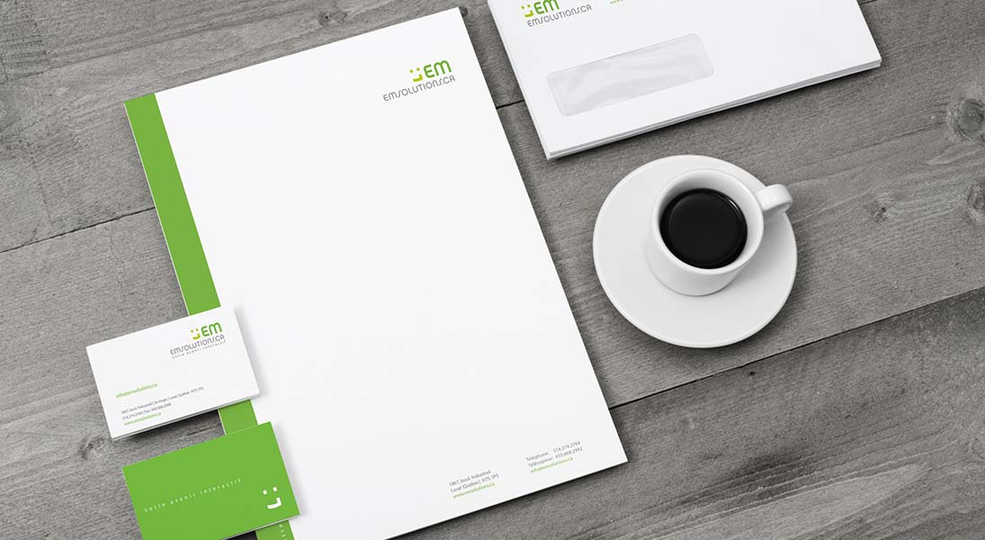 logo em solutions -   logo stationery conception design graphism laval energik
