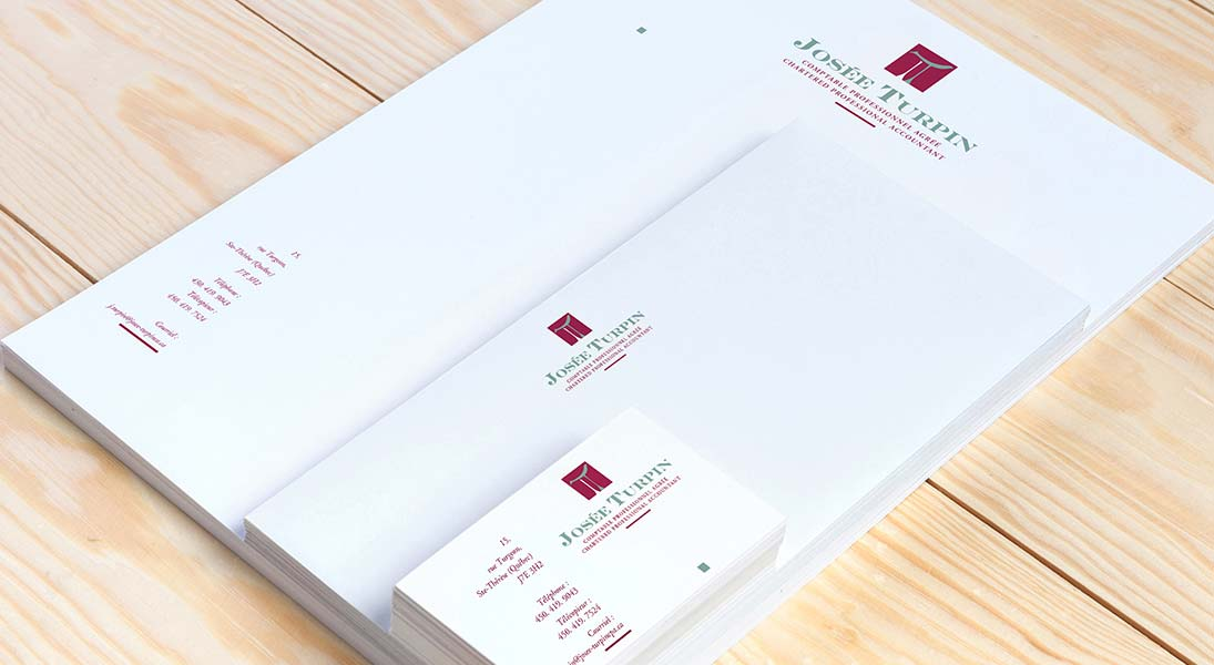 logo stationery Josée Turpin - profesional accountant logo stationery conception design graphism laval energik