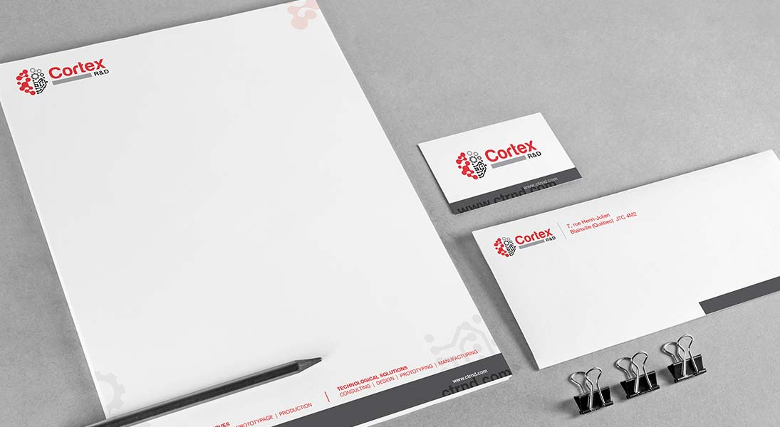 logo stationery Cortex - search and development logo stationery conception design graphism laval energik