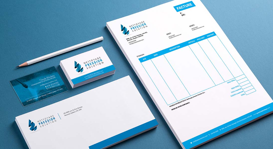 logo stationery Nettoyage pression solution - profesional cleaning services logo stationery conception design graphism laval energik