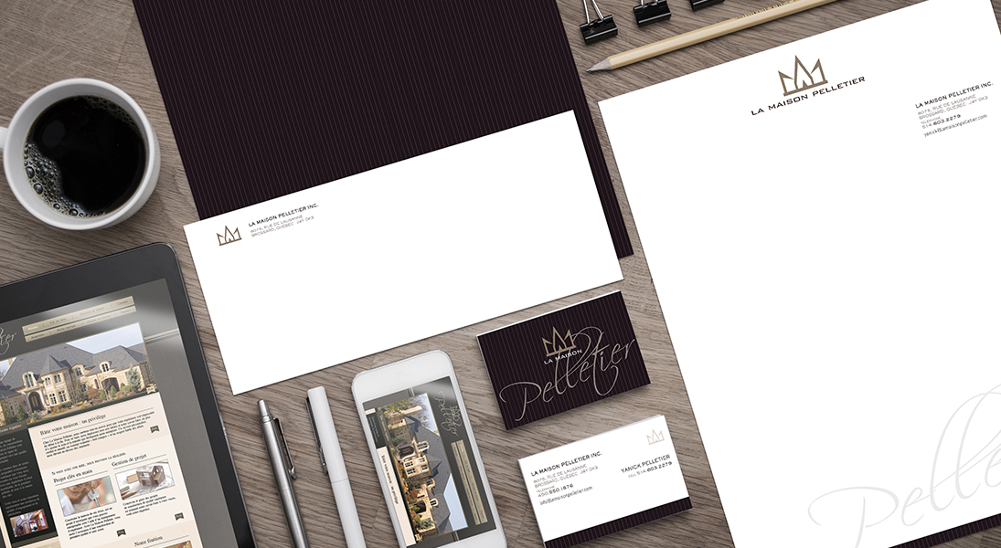 logo and stationery La maison Pelletier - real estate project construction logo stationery conception design graphism laval energik