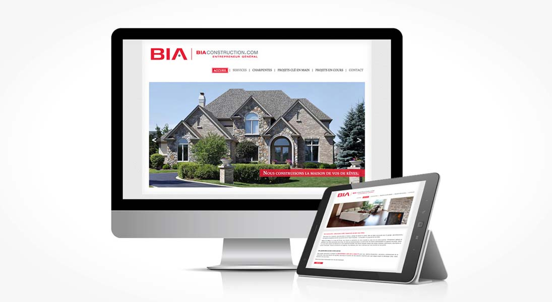 site web bia construction - web site responsive conception design graphisme laval energik