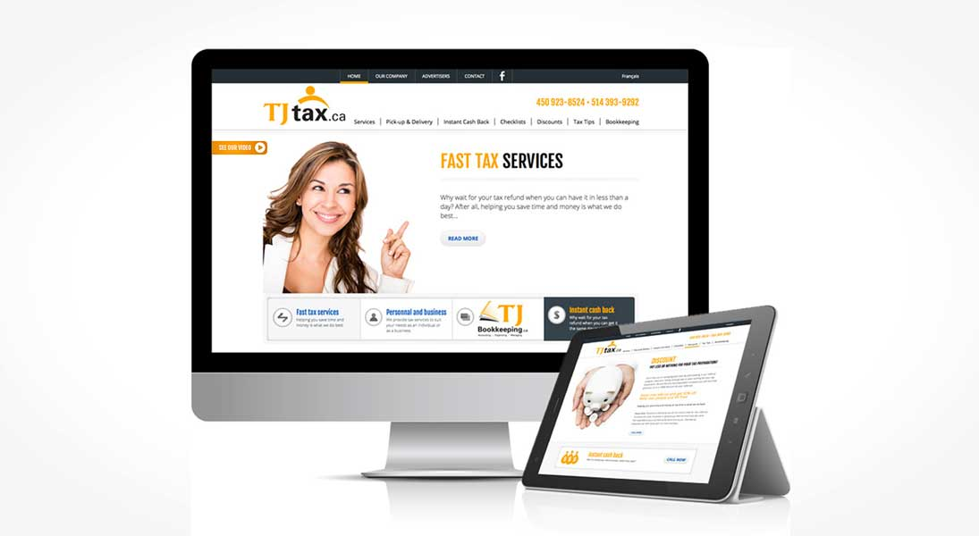 Site web tj tax - web site responsive conception design graphisme laval energik