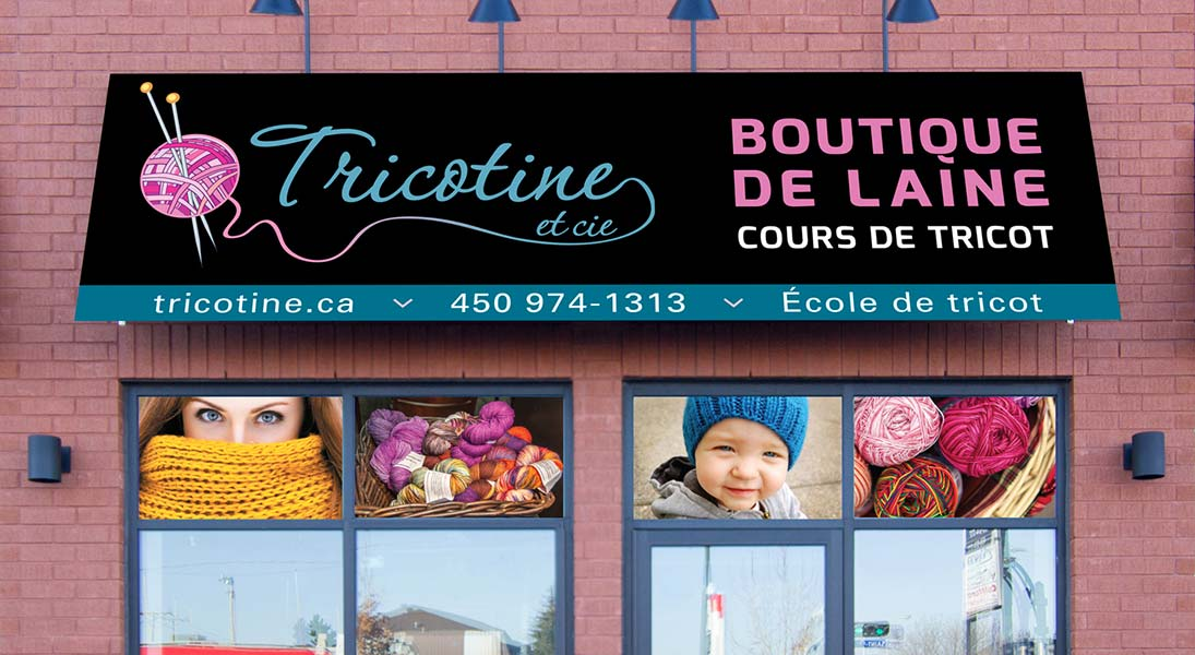 Banner sign Tricotine - conception design graphism laval stand kiosk energik