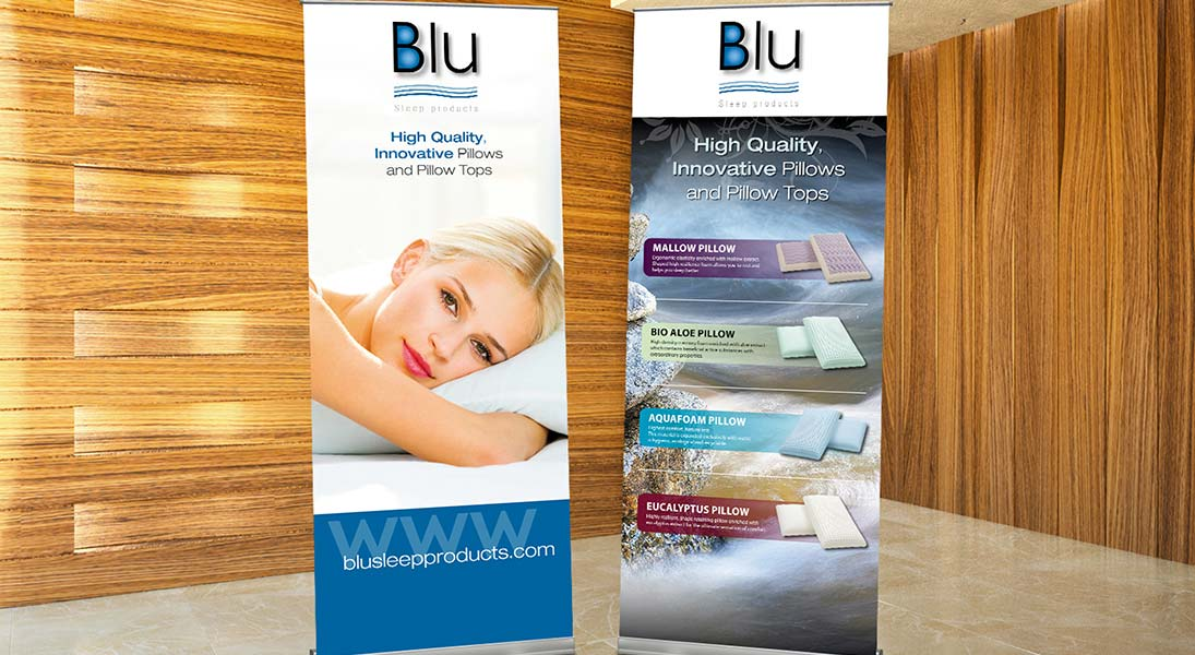 Rollup banner Blu sleep products - conception design graphism laval stand kiosk energik