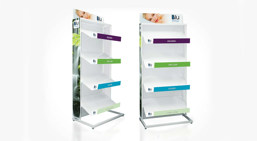 Display stand Blu sleep products - conception design graphism laval stand kiosk energik