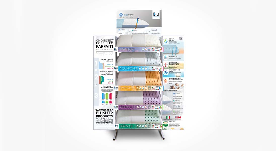 Display shelves Blu sleep products - conception design graphism laval stand kiosk energik